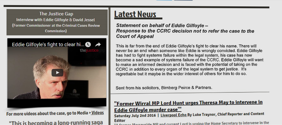 Screenshot from Eddie Gilfoyle's campaign website