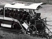 The wreckage of the M62 coach bombing