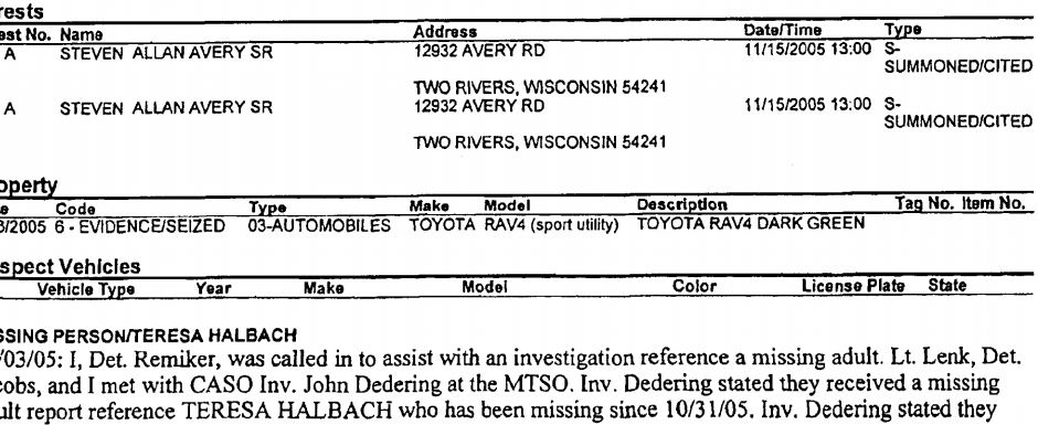 Screenshot of the post conviction testing motion showing the date that the Police seized the RAV4