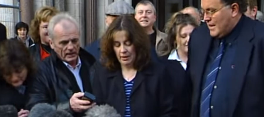 Screenshot from a news clip of Angela Cannings speaking at a press conference after being cleared
