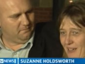 Screenshot of a news report found on YouTube showing Suzanne Holdsworth as she is freed